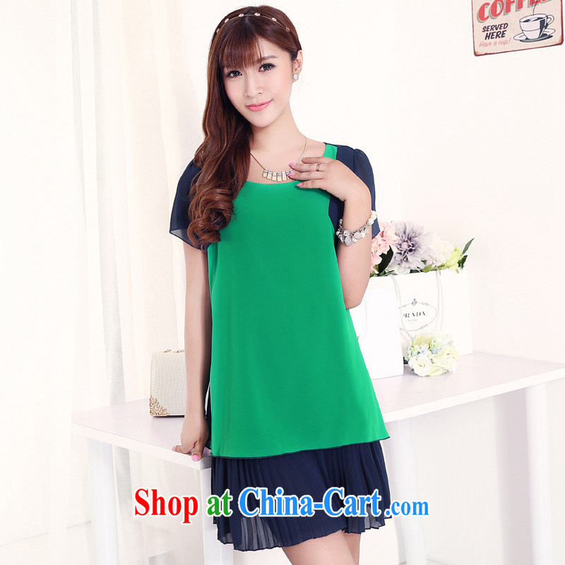 Increase the thick mm summer 2015 new XL girls thick sister 100 hem snow woven double-yi skirt hit color tile green 3 XL