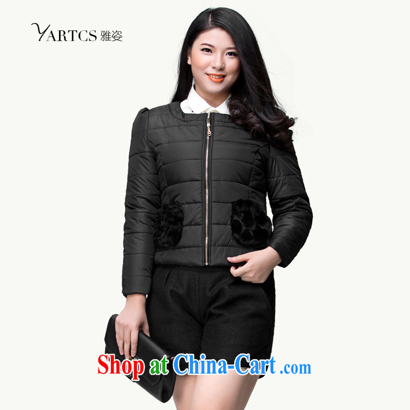 Colorful, larger women fall 2014 winter clothing new thick mm Korean cotton suit Female short quilted coat jacket H 1016 black 5 XL