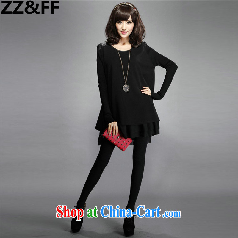ZZ &FF 2015 spring new and indeed increase Code women mm thick dress loose video thin knitted long sleeved dresses female black XXXXL