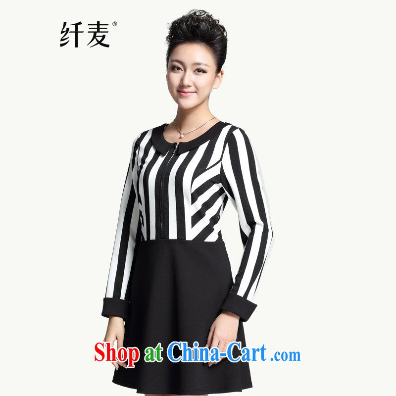 The Mak is the women's clothing 2014 winter clothing new thick mm stylish stripes graphics thin long-sleeved dress 944101688 5 XL