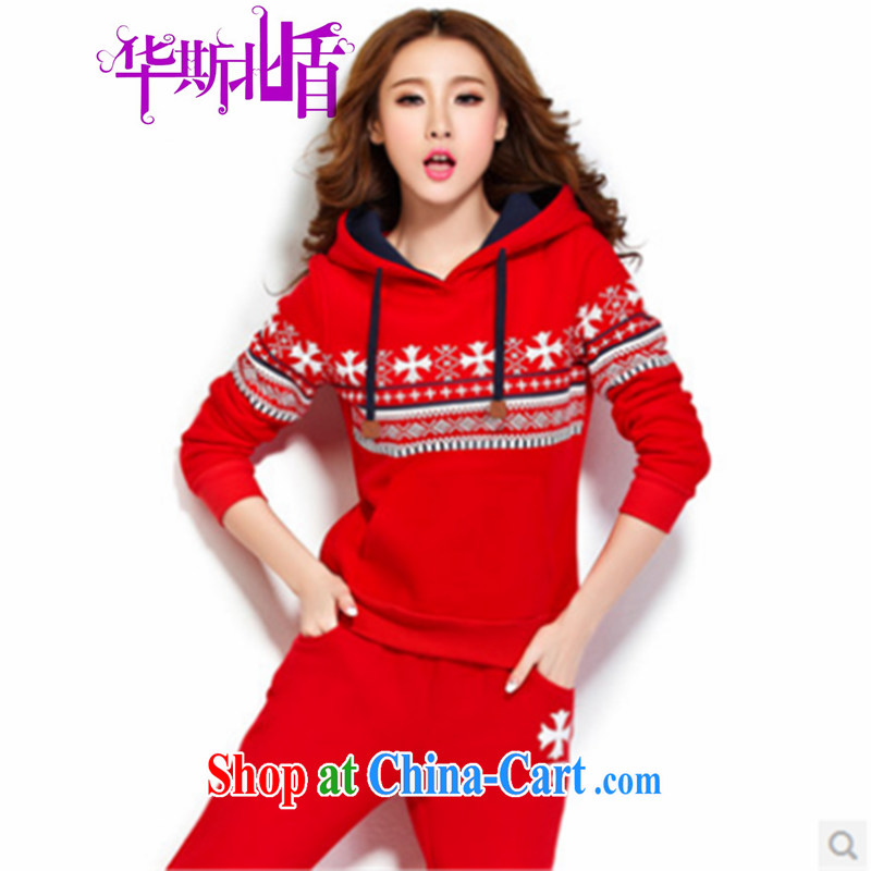 Autumn and Winter Sweater new sport and leisure package Korean style two-piece large, long-sleeved pants female Red XXL