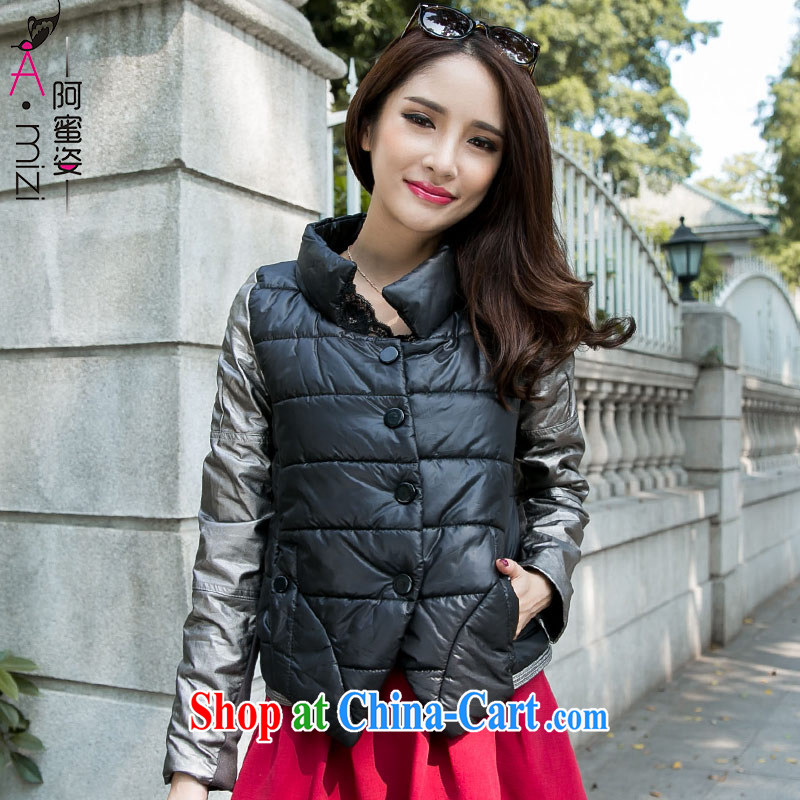 The honey beauty new Korean version the code female thin beauty graphics thin stylish short stitching jacket cotton suit women 9223 black XXXXL
