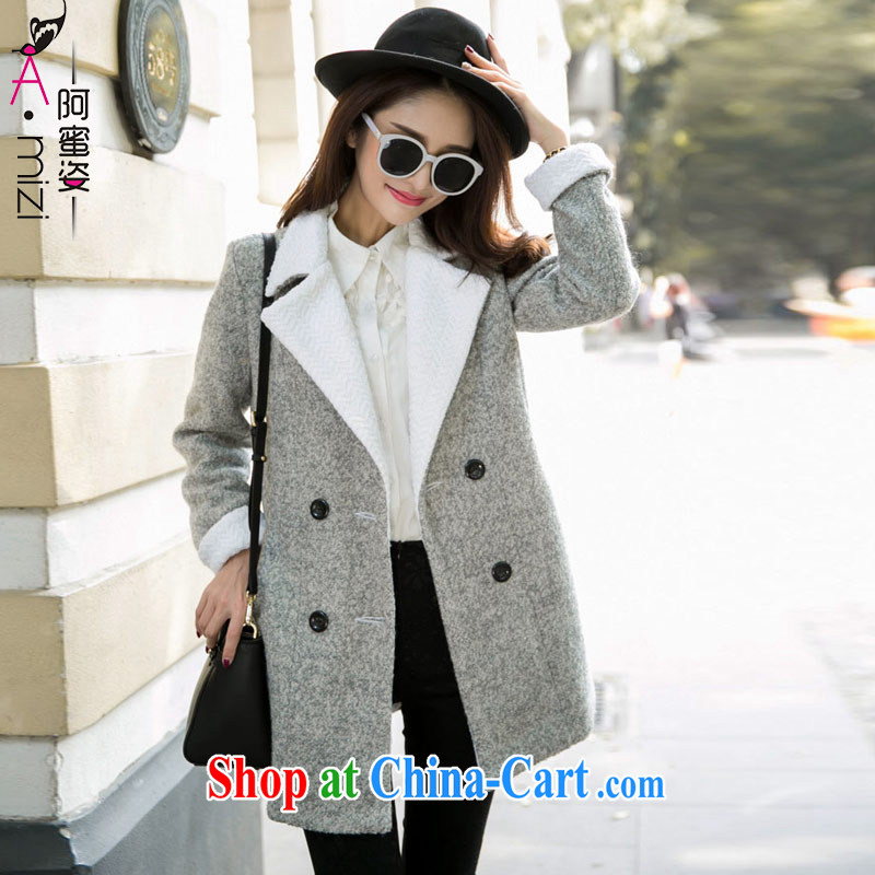 The honey beauty winter clothing New Products thick mm maximum code female Korean style graphics thin beauty lapel wool? The coat 9224 flower gray XXL
