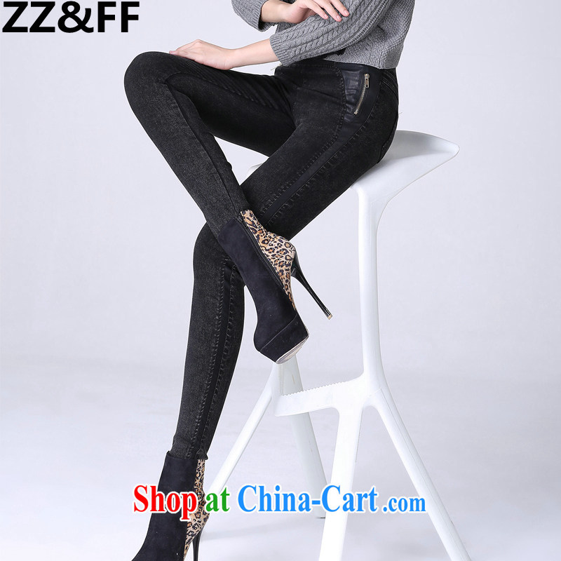 ZZ &FF 2015 spring new and indeed XL girls thick mm video thin pencil trousers castor pants jeans black XXXXL