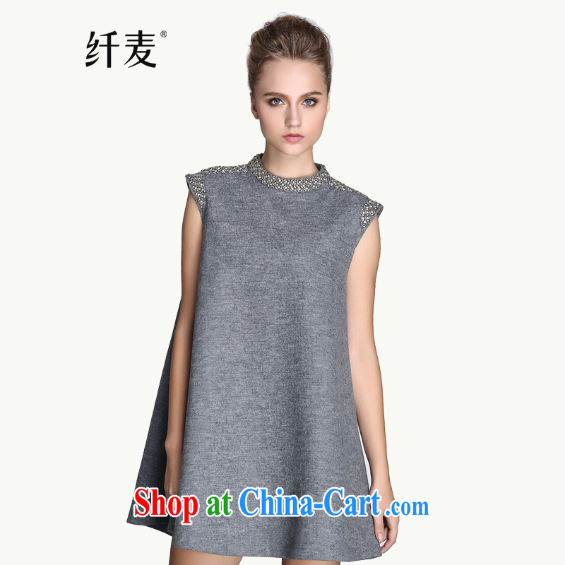 The Mak is the women's clothing 2014 winter clothing new thick mm fashion style nails Pearl dress 944104744 gray 6 XL