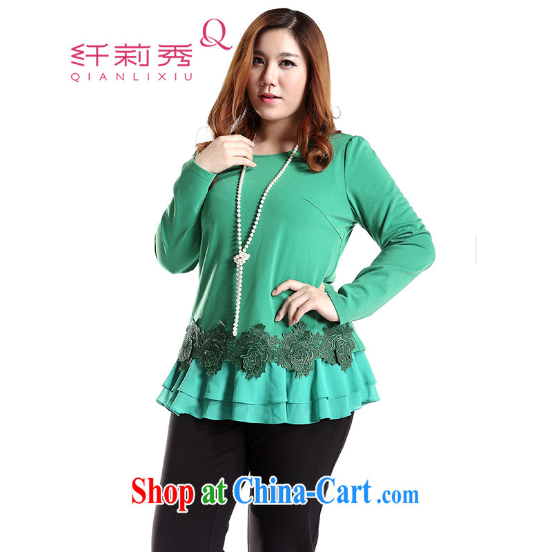 Slim LI Sau 2014 autumn and winter new larger female Korean lace stitching flouncing loose ground 100 sweater Q 6720 green XL
