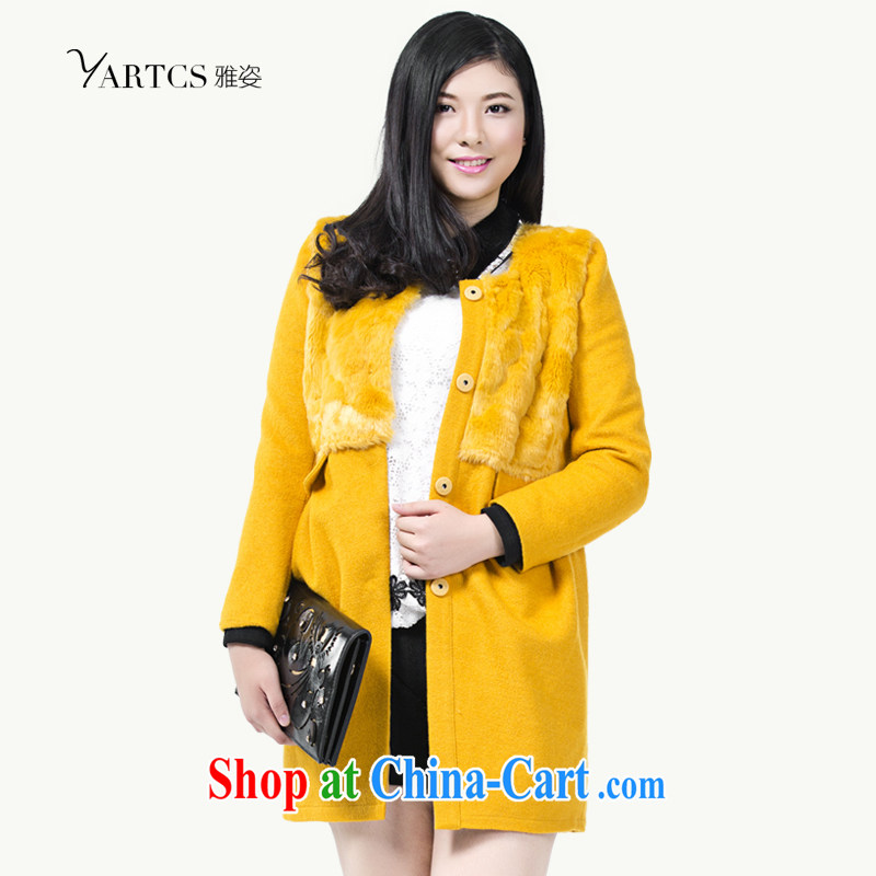 Colorful, larger women 2014 autumn and winter jacket Korean version with graphics thin hair so jacket coat female H 1012 yellow 5 XL