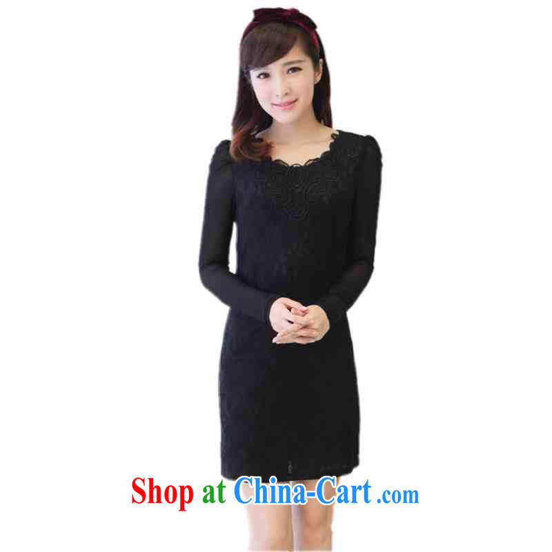 The e-mail package is the XL lady OL dresses lace hook take V for long-sleeved commuter style graphics thin skirts fall and winter skirt solid mm thick black 3 XL approximately 170 - 185 jack