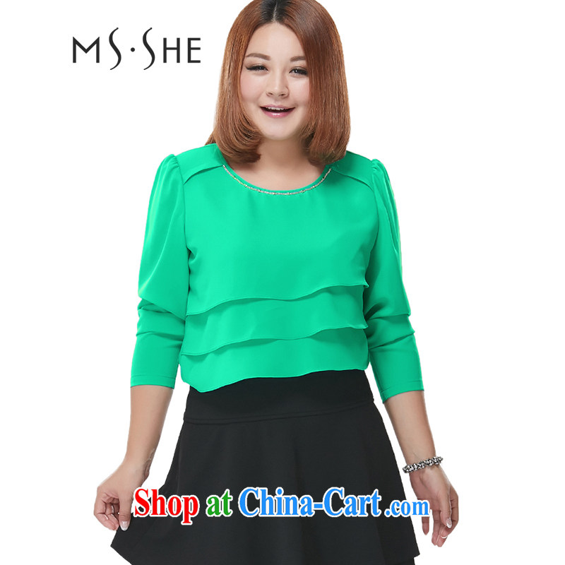 MSSHE XL ladies' 2015 the code female spring elegant lady cake layer with long-sleeved snow woven shirts T-shirt 2256 green 6 XL