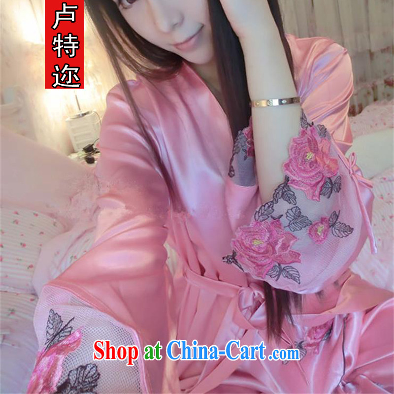 The ethnic cleansing 2014 autumn and winter clothing new embroidered emulation silk pajamas, 3 piece silk romantic sexy straps robes home service kit 8873 pink