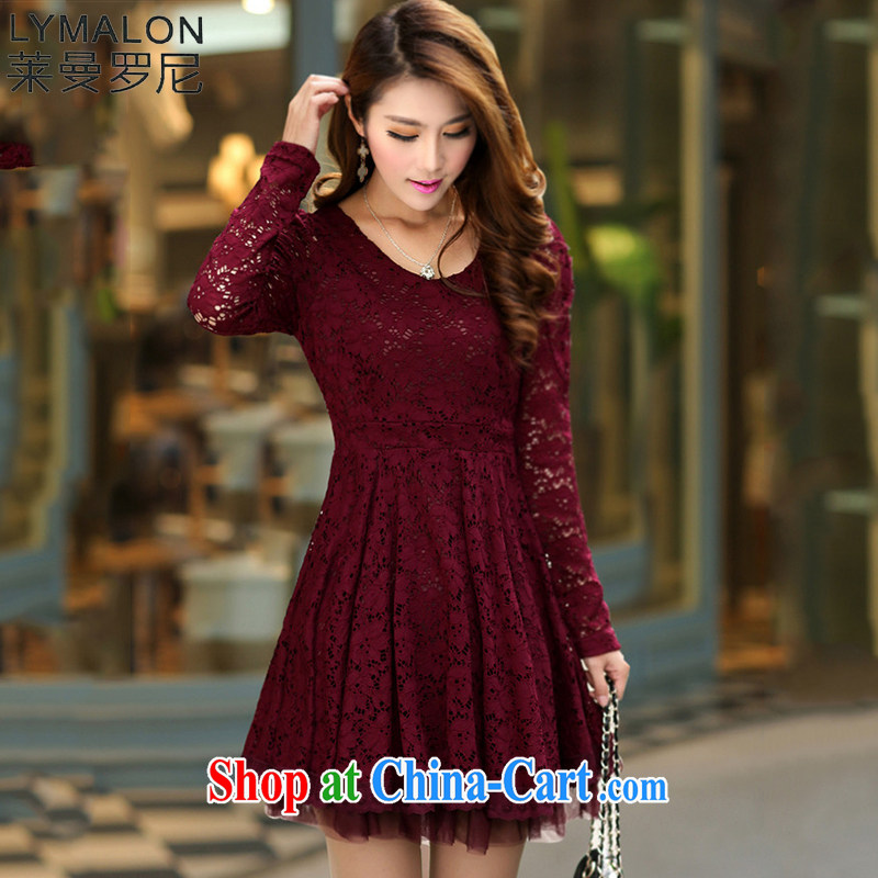 Lehman Ronnie lymalon 2015 autumn and winter, new thick MM large code female Korean Beauty lace long-sleeved-round-collar dress 672 wine red 4 XL