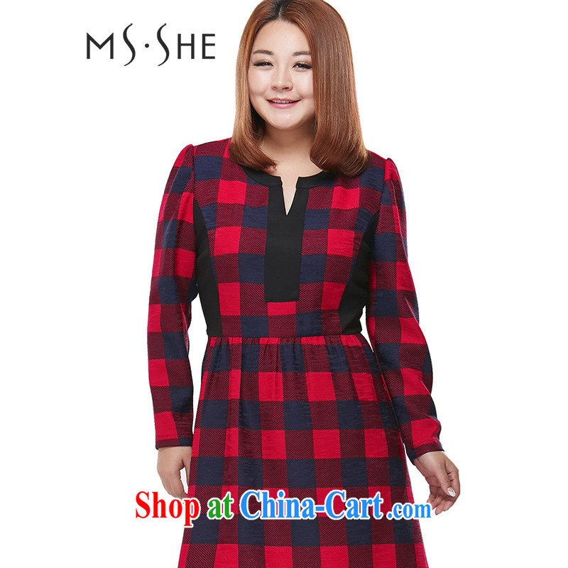 MSSHE XL female spring classic English style British Grid graphics thin A swing dresses clearance 2231 red and blue 6XL