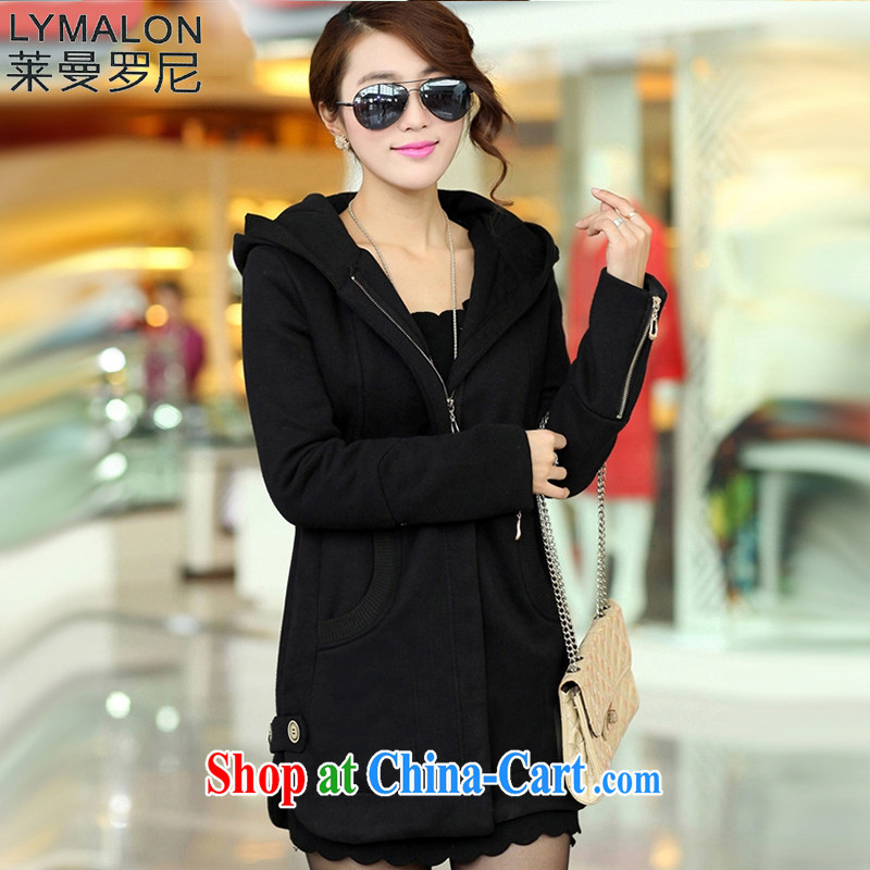 Lehman Ronnie lymalon 2015 autumn and winter new Korean version thick MM the ventricular hypertrophy, female, long cap zip long-sleeved sweater jacket 679 black 6 XL