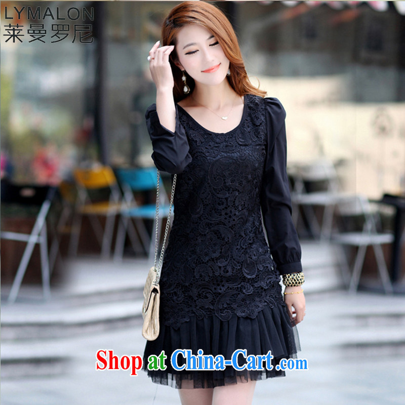 Lehman Ronnie lymalon 2015 autumn and winter new Korean thick MM larger women Beauty Fashion lace long-sleeved round neck dress 695 black 5 XL