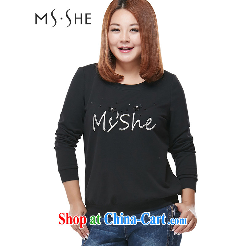 MSSHE XL girls and stylish lounge with solid color solid T shirt T-shirt beauty clearance 2153 black 6 XL