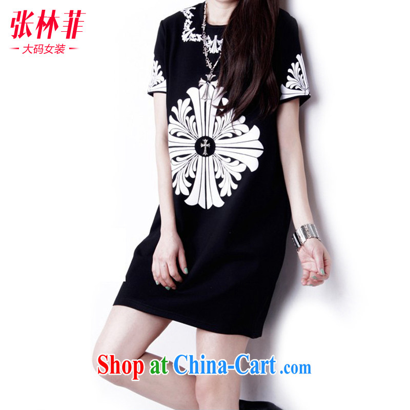 Zhang Lin , thick mm summer 2015 and indeed increase, female fat sister new graphics thin dress short-sleeved 10 field stamp black and silver 3XL