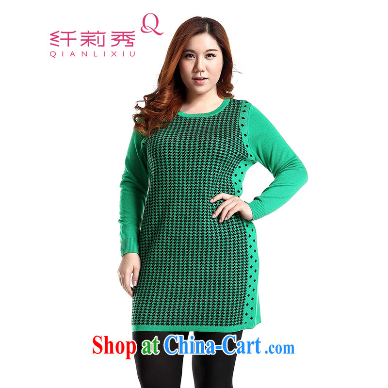 Slim LI Sau 2014 autumn and winter new larger female 1000 birds, long-sleeved sweater video thin knitted dresses Q 5990 green 2 XL