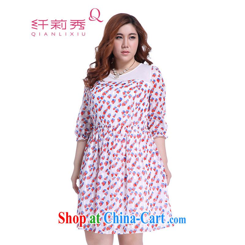 Slim Li-su summer 2014 new larger women mm thick heart-shaped stamp beauty series spelling skirts Q 5715 m White 4XL