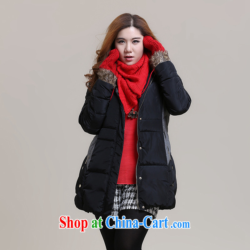 Slim Li-su 2014 autumn and winter new large, stylish girl with thick warm graphics thin, long jacket coat (removable cap head) Q 6006 black 3 XL