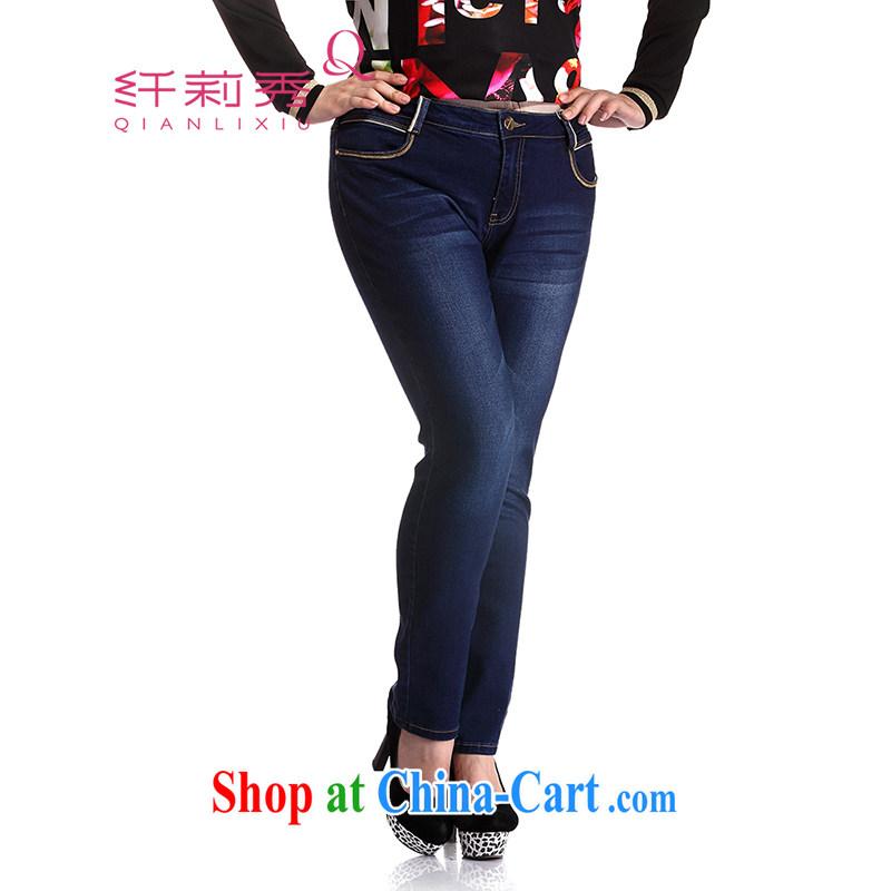 Slim LI Sau 2014 autumn and winter new larger female pencil pencil pants jeans pants Q 6103 cowboy blue 4XL