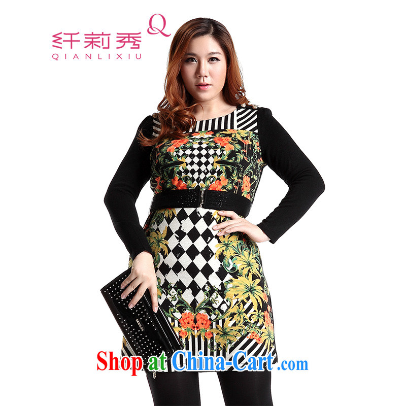 Slim LI Sau 2014 autumn and winter new large, stylish women's clothing retro stamp beauty graphics thin A swing knitting dress _with the belt_ Q 6118 black XL