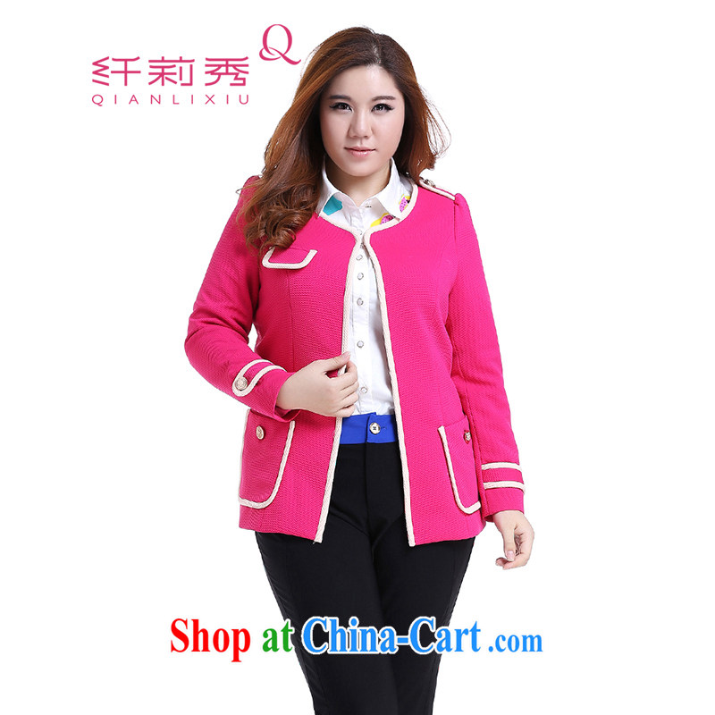 Slim LI Sau 2014 autumn and winter new, larger female round-collar hit pack edge small fragrant wind jacket Q of 6257 red L