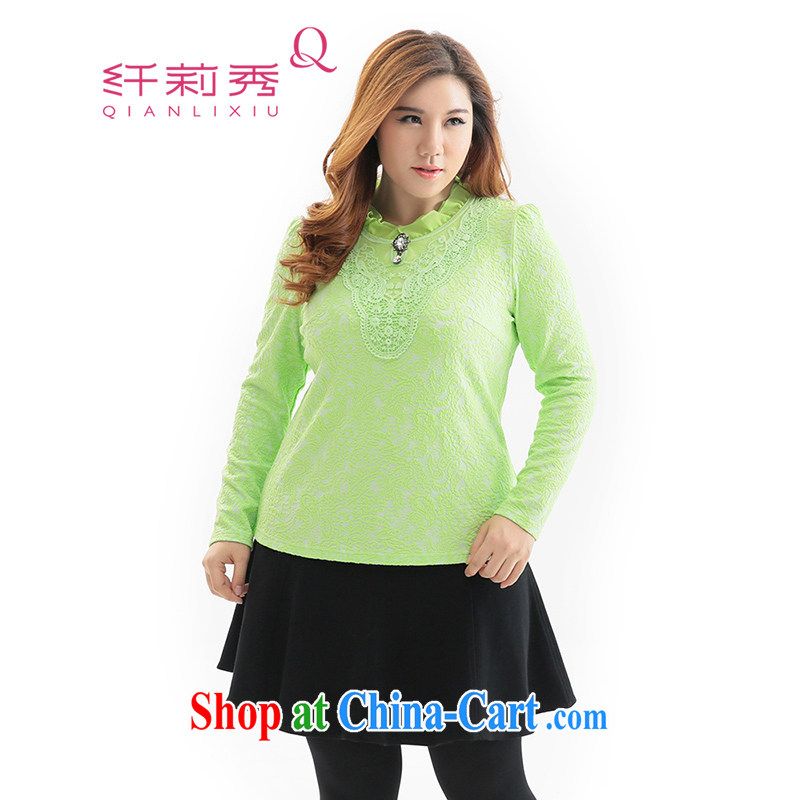 Slim Li-su 2014 autumn and winter new, larger female Korean snow woven stitching long-sleeved solid knit sweater Q 6325 green 4 XL