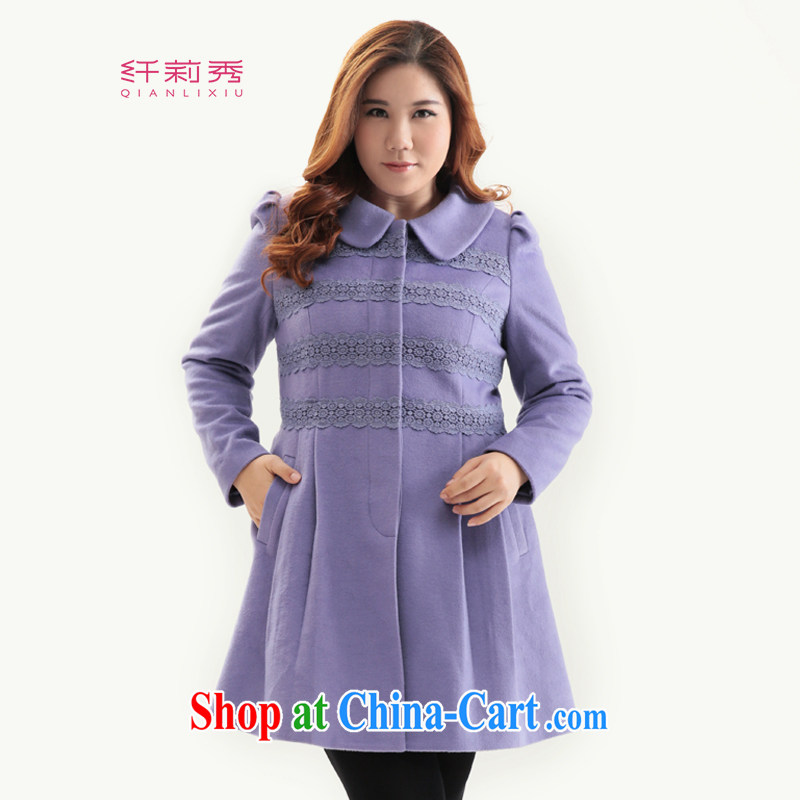 Slim Li-su 2014 autumn and winter new, larger female Korean version? gross coat female wind Yi Shen wool? The coat Q 6372 purple 4 XL