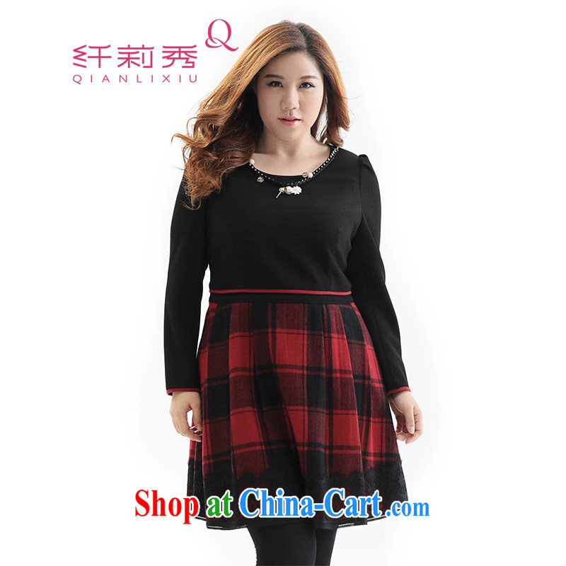 Slim LI Sau 2014 autumn and winter new, large, modern women are decorated with graphics thin Grand grid gross? dresses _with decoration_ Q 6517 black 2 XL