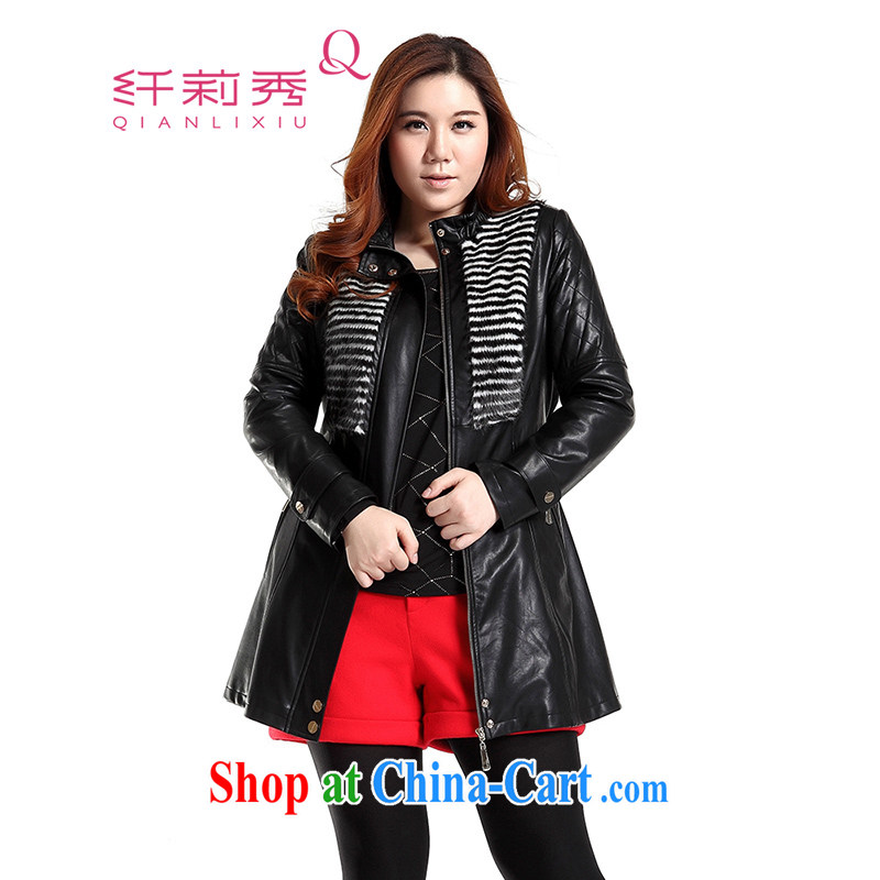 Slim LI Sau 2014 autumn new large, stylish decorated women in leather jacket motorcycle wash water PU leather jacket _with the belt_ Q 6630 black XL