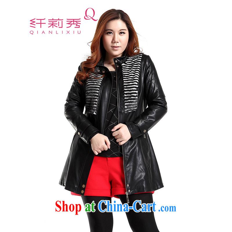Slim LI Sau 2014 autumn new large, stylish decorated women in leather jacket motorcycle wash water PU leather jacket (with the belt) Q 6630 black XL