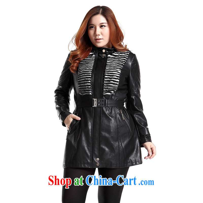 Slim Li-su 2014 autumn new, large, modern women are decorated in leather jacket motorcycle wash water PU leather jacket (with the belt) Q 6630 black XL, slim Li-su, and shopping on the Internet