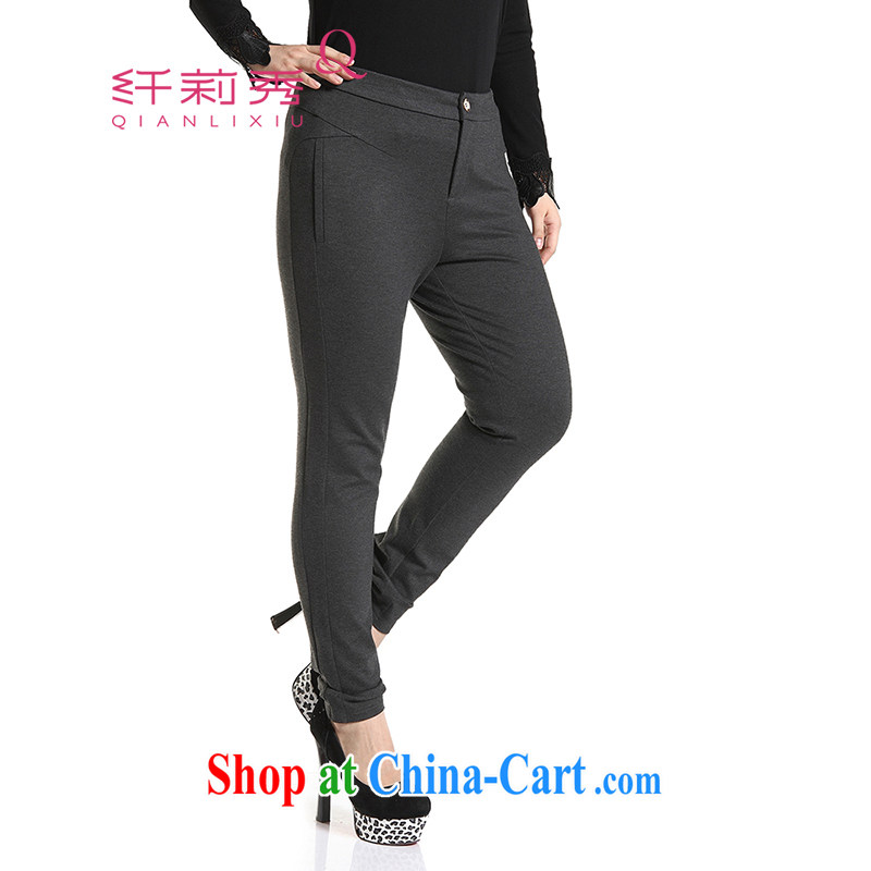 Slim LI Sau 2014 autumn and winter new larger women Beauty Fashion video skinny legs solid pencil trousers Q 6651 gray 5 XL