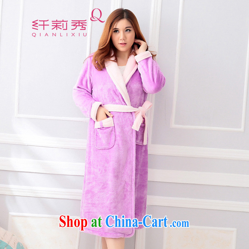 Slim LI Sau 2014 autumn and winter new large high fashion ladies lapel coral lint-free long-sleeved robes bathrobes home service (delivery belts), 6701 Q light purple 2 XL
