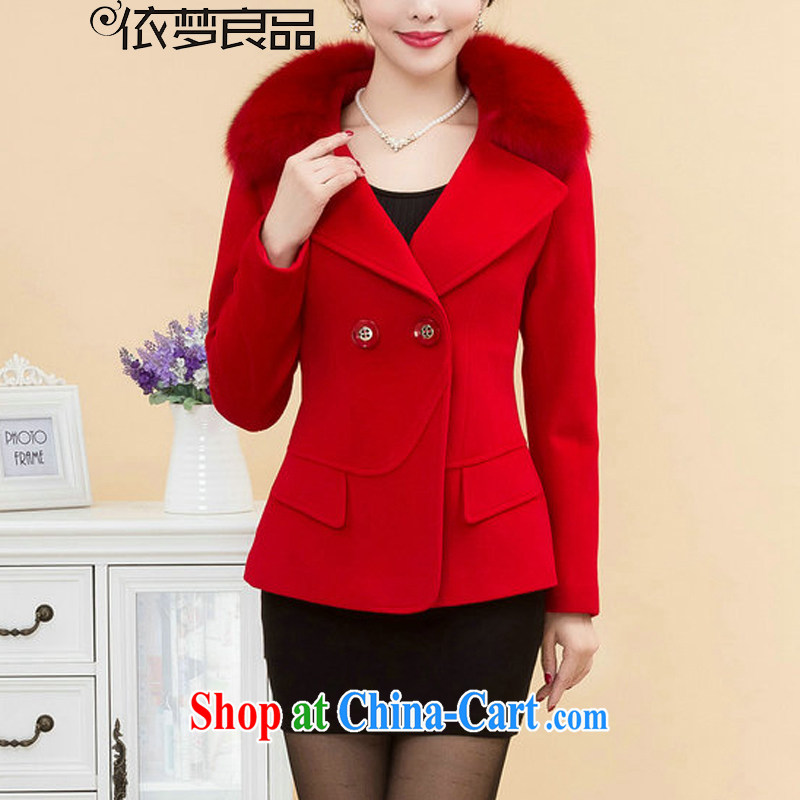 According to his conscience, 2014 fall and winter new, so the coat girl jacket short hair for hair coat? NZ 60 rich red XXXXL