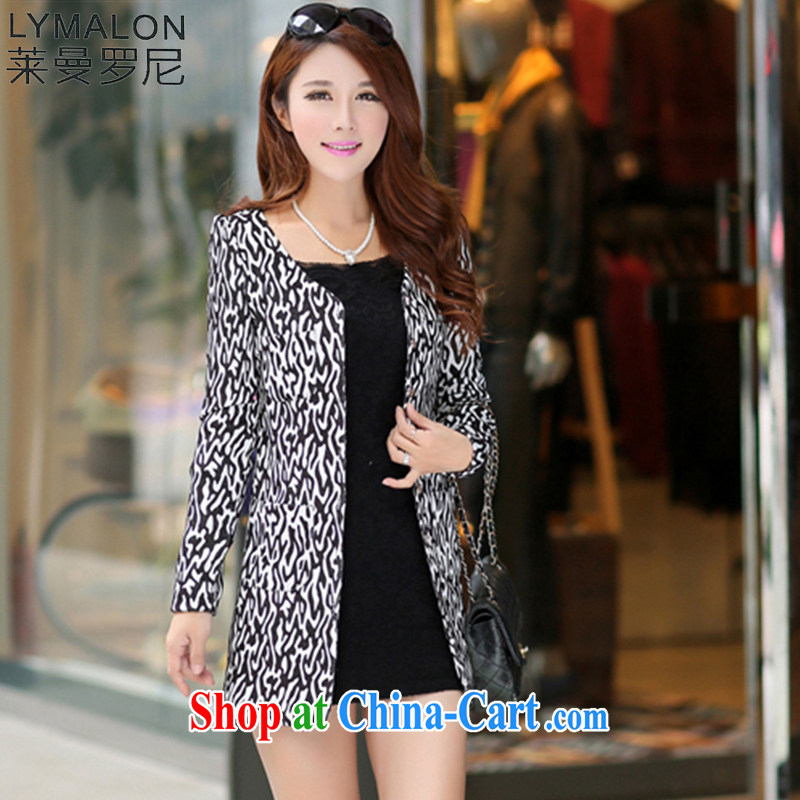 Lehman Ronnie lymalon 2015 autumn and winter new Korean version thick MM the Code women Beauty Fashion the long Leopard wind jacket 1493 black 4XL