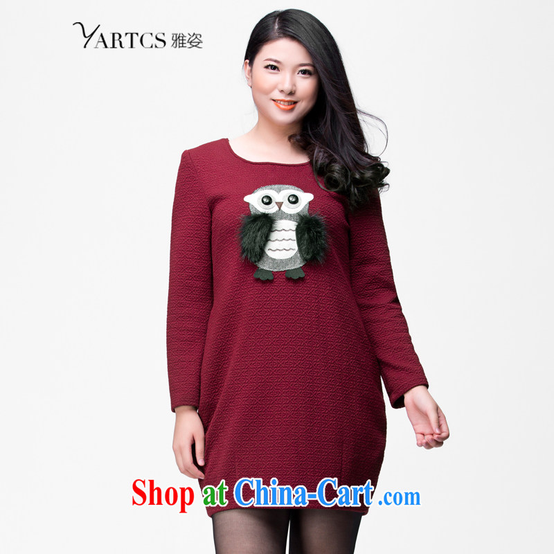 Colorful, larger women 2014 autumn and winter skirt solid long-sleeved dresses Korean round-collar knitting video thin dresses H 1005 maroon 5 XL