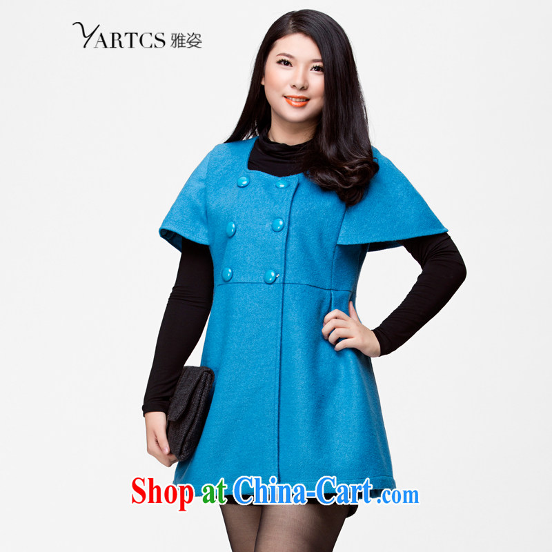 Colorful, larger women 2014 autumn and winter jacket Korean cloak cuff double-Mao jacket? T-shirt girls blue 5 XL