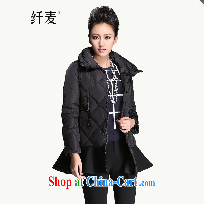 The Mak is the women's clothing 2014 winter clothing new thick mm stylish flouncing, with jacket 944051056 black 6 XL