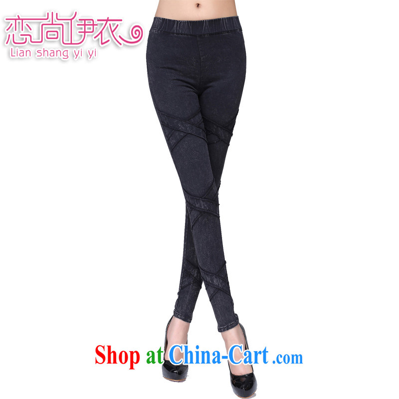 Land is the Yi 2014 winter new Korean lady 100 ground-water stretch cotton pants, large, female and FAT and FAT sister graphics thin solid pants picture color XL