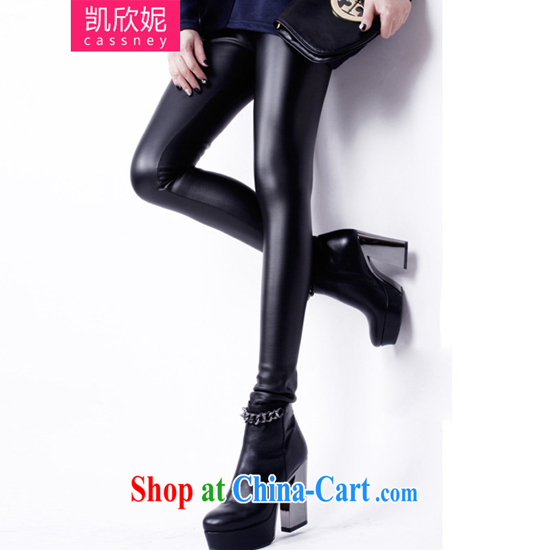 Kaixin Connie 2014 autumn and winter new Korean version thick MM graphics thin the lint-free cloth tight trousers leather pants pants solid light-sensing carbon black leather pants 6 XL, Kaixin Connie, and shopping on the Internet