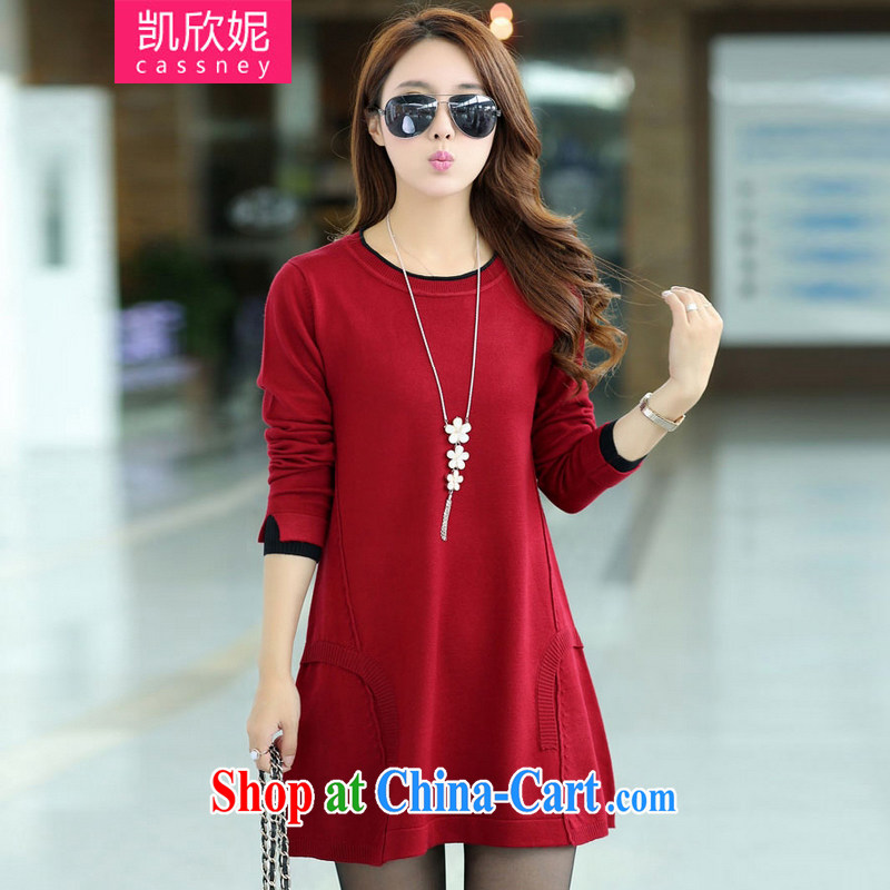 Kaixin Connie 2014 autumn and winter new Korean version thick MM loose video thin sweater, long-dresses wine red XXXXL