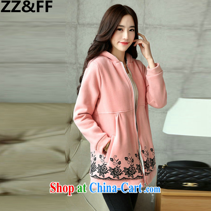 ZZ _FF 2015 spring new and indeed increase, female 200 Jack thick MM cotton clothing Korean quilted coat pink XXXL