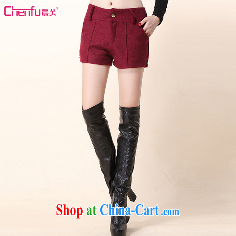 Morning would be 2015 spring Korean fashion 100 ground that gross boots pants warm shorts new women waist-hip graphics and thick so the short boots maroon 3XL recommendations 135 - 150 jack