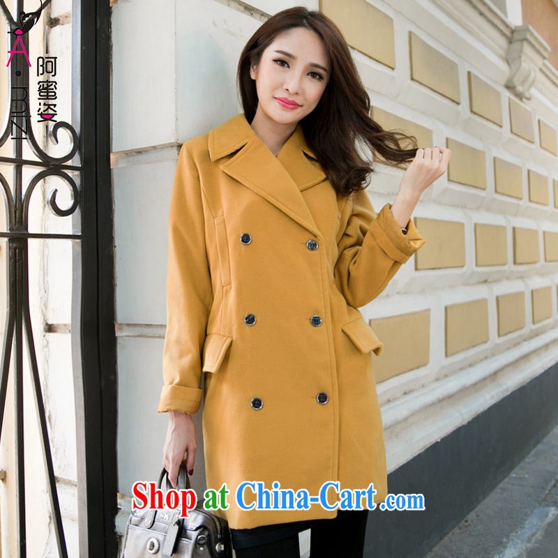 The honey and diverse expertise MM new winter clothing double-length in Paragraph Style graphics thin windbreaker gross coat it? The jacket women 9316 Kang yellow 5 XL