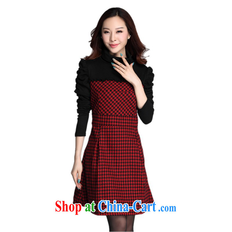 The obesity mm stylish spell-color dresses package mail 2014 new autumn and winter clothing high-collar solid dress bubble sleeve large code 1000 bird tartan video thin knitted short red XXL approximately 140 - 150 jack