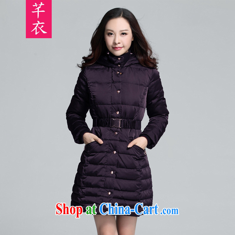 Constitution and new Korean version 2015 XL fat, women's clothing, collar waist tie decorated with beauty jacket thick sister long-sleeved thick-purple to reference brassieres option code or advisory service