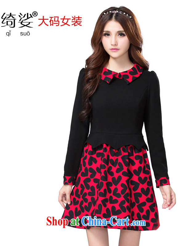 cheer for autumn and winter, the Code women mm thick European and American heart-shaped graphics thin XL long-sleeved dress number 2352 red 2 XL