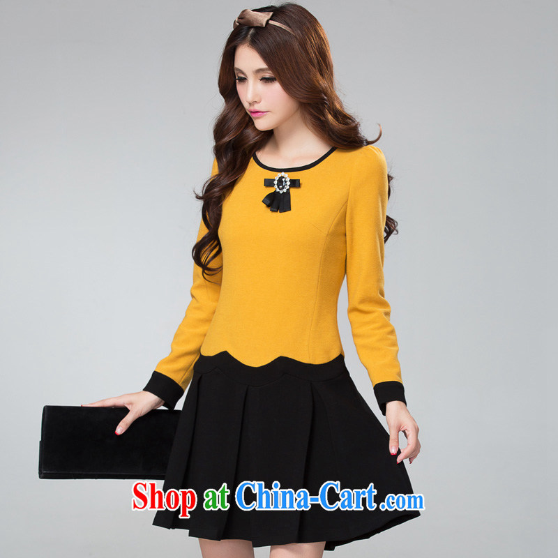 cheer for Fall_Winter new products, women mm thick sweet graphics thin and thick, long-sleeved? The dress of the 2351 yellow 5 XL