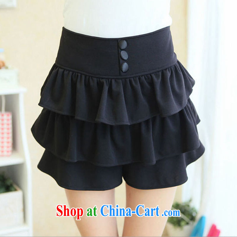 Loose the code body skirt 2015 summer shorts 200 Jack high waist stretch thick girls pants wide leg and indeed intensify cake thick mm short skirts pants black 3 XL code _weight 160 - 180_